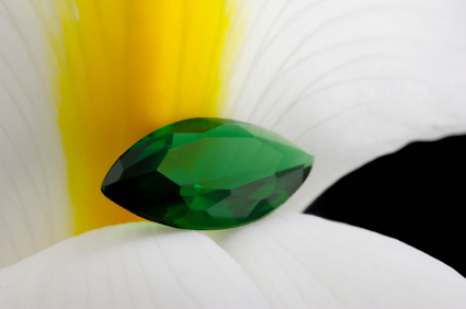 emerald: the green stone, on flower