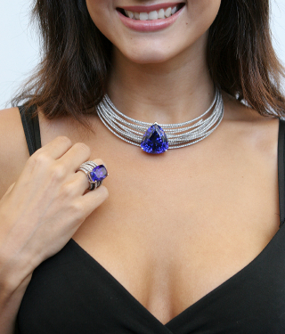 Tanzanite jewelry with white gold