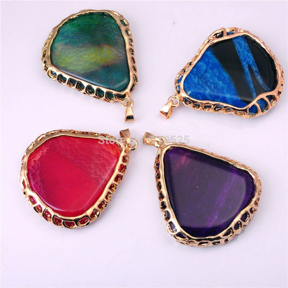 2015-natural-red-agate-pendant-Gold-plating-necklace-semi-precious-stone-jewelry-necklace-pendant-for-women