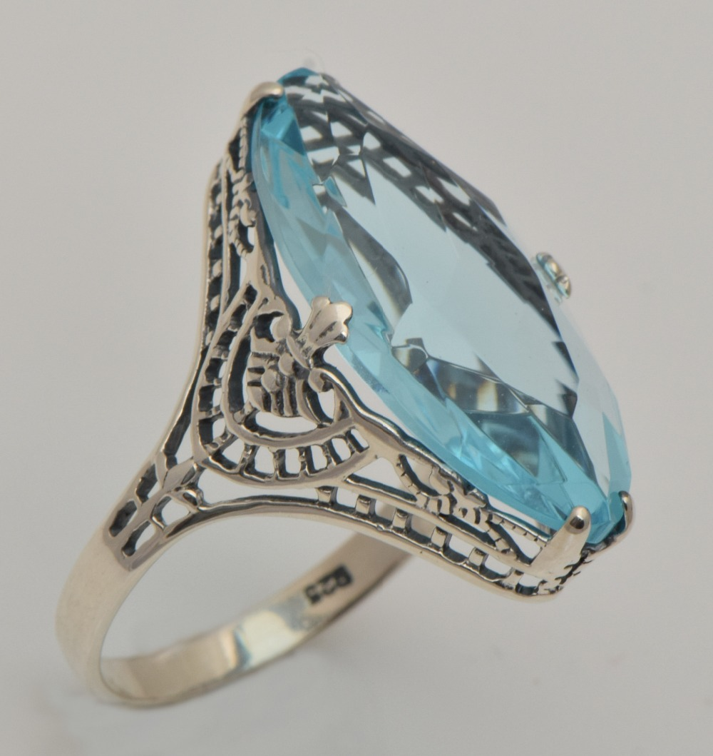 2015-the-new-trend-of-aquamarine-ring-true-South-Korea-2015-silver-antique-silver-ring-weeding