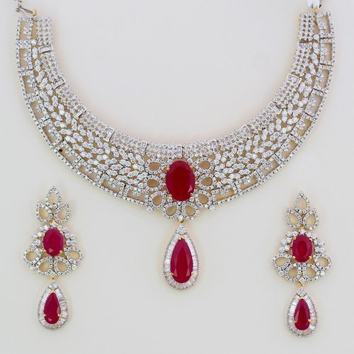 American-Diamond-Necklace-Set-with-Ruby-Stone-