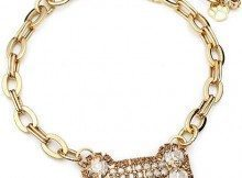 Crystal Dog Necklace CC017M Doggie Jewelry Collar Large Bone Center Chain Collar