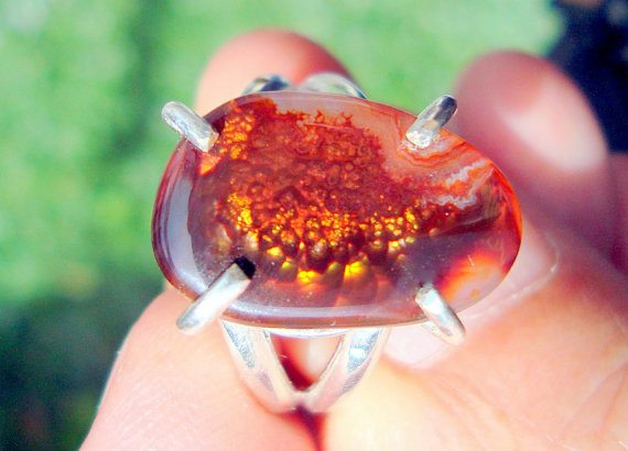 Fire agate ring fire agate jewelry by fireagate on Etsy