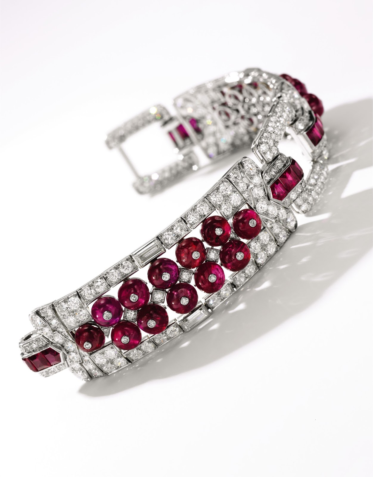 Lot 461 - Ruby and diamond bracelet, Cartier, circa 1920