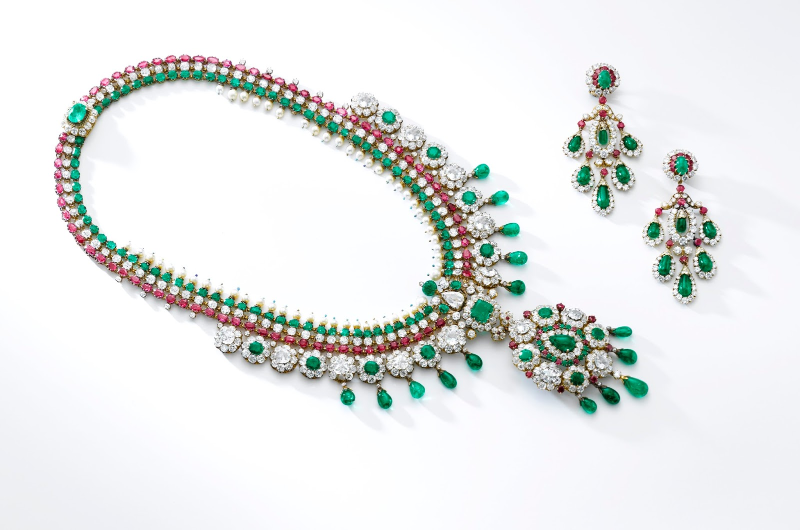 Lot 493 - Gem set and diamond demi-parure, Van Cleef & Arpels, 1960's