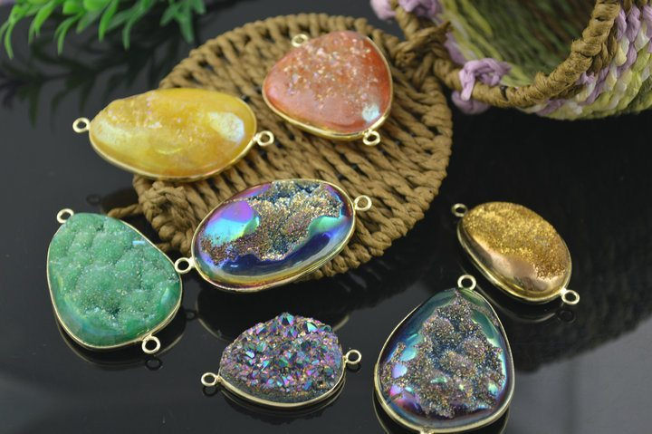 New-Fashion-Druzy-Agate-Jewelry-Making-Pendants-Gold-Surround-Mixes-Color-Order-5-pc-lot