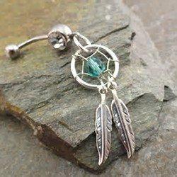 belly-button-ring-double-silver-feathers-navel-jewelry-piercing-thumb