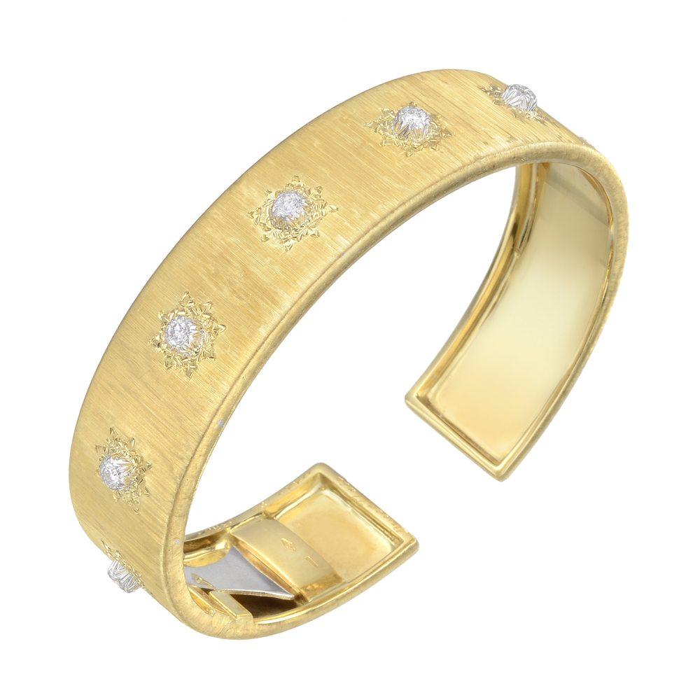 estate-buccellati-cuff-bracelet-yellow-gold-diamond